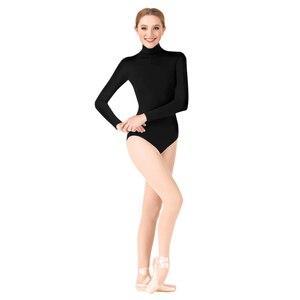 Image 5 - Женское гимнастическое трико Ensnovo, балетная Одежда для танцев, Женская балетная одежда, Женское боди с длинным рукавом, колготки