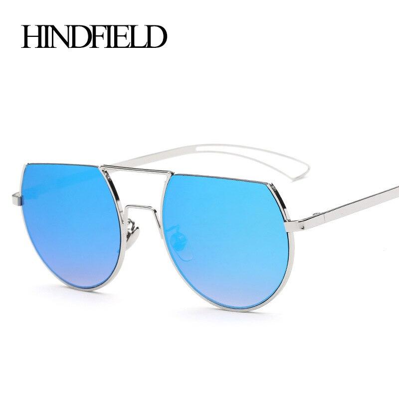 47cd65ab36f60 HINDFIELD Moda Oversized óculos de sol Das Mulheres Marca de Luxo Designer  de Armação de Metal Óculos de Sol Para As Mulheres oculos de sol feminino