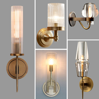 Retro RH K9 Crystal Shades G9 Wall Lamp American Bedside Sconce Lighting Fixtures Lustre Living Room Wall Light