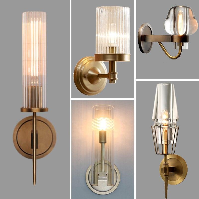 Retro RH K9 Kristall Shades G9 Wand Lampe Amerikanische Nacht Leuchte Leuchten Glanz Wohnzimmer Wand Licht