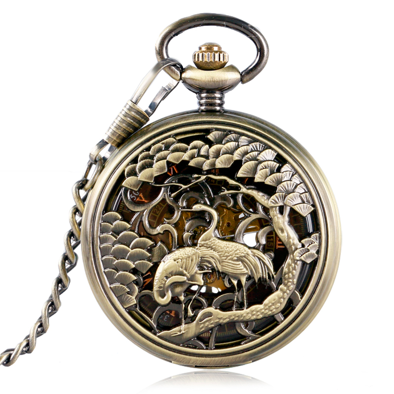 Crane Carving Pocket Watch Bronze Women Mechanical Men Retro Skeleton Chain Hand-winding Necklace Roman Numerals Christmas Gift antique hollow carving horse quartz pocket watch steampunk bronze fob clock for men women gift item with necklace 2017