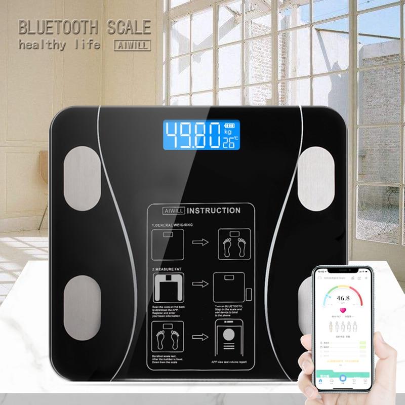 AIWILL Banheiro cozinha Escalas Precisas Inteligente Equilíbrio balança Eletrônica de Peso Digital Piso Casa de Saúde Corpo de Vidro Display LED 180 kg