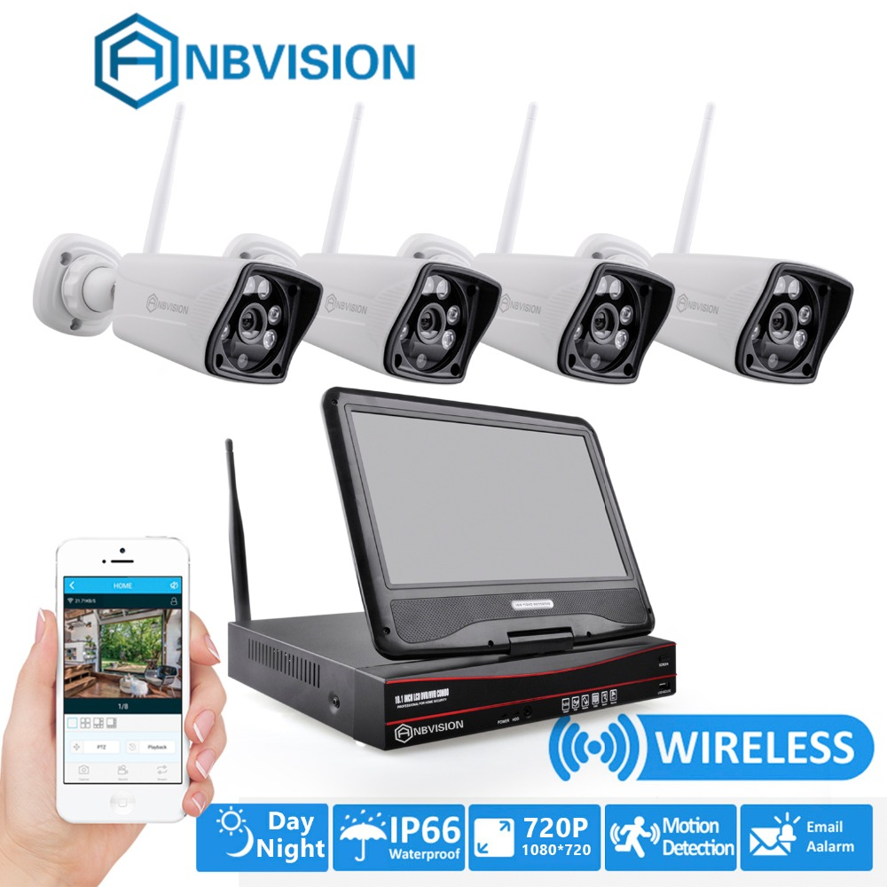 anbvision 720p wireless wifi 4pcs cctv ip camera system video surveillance kit with nvr 10 inch. Black Bedroom Furniture Sets. Home Design Ideas