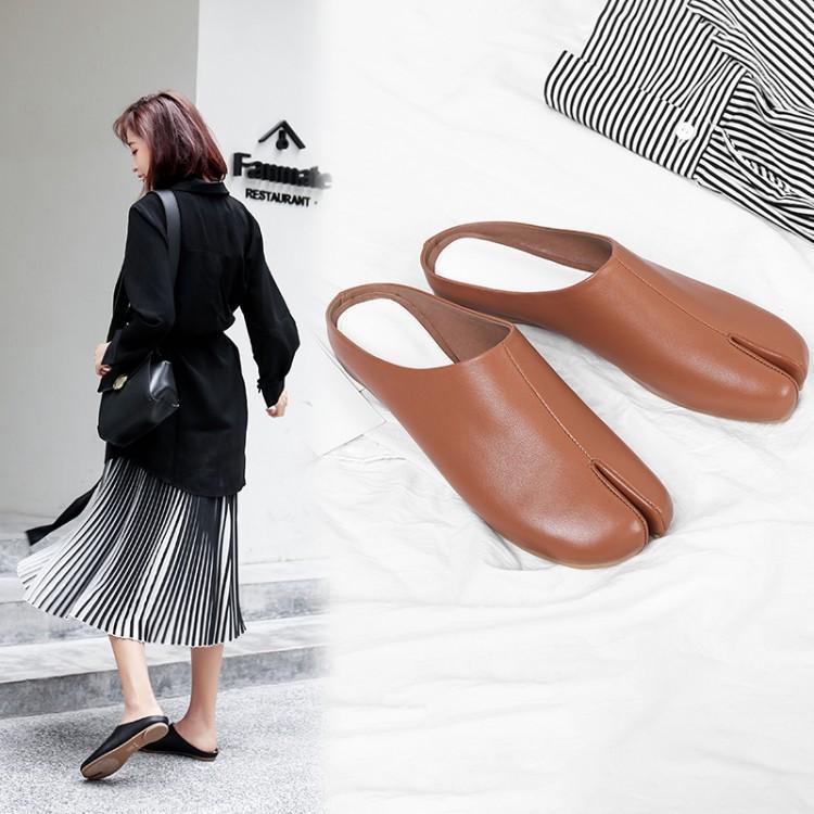 Cakucool 2019 Muller buty toe proste skórzane szpilki szpilki klapki kobiet baotou kapcie europa i ameryka sexy w Kapcie od Buty na  Grupa 2