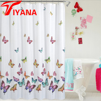 Mildew Water Proof Polyester Shower Curtain Bathroom Curtains Fabric With Hooks Lead Wire Toilet Partition 180