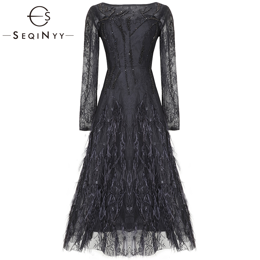 SEQINYY Blace Vintage Dress 2019 Early Spring Woman s New Fashion Long Sleeve Crystal Feathers O