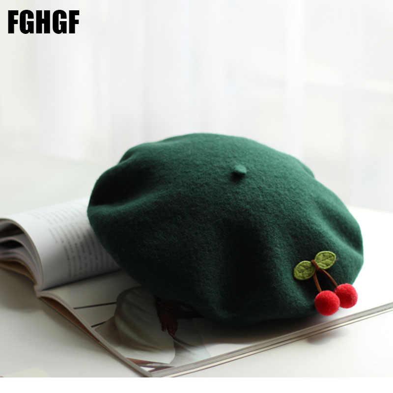 FGHGF сплошной милый Вишневый берет Для женщин баска французский художник шерстяной берет стрейч с голенищем «гармошкой», Cap Top шапка, сезон осень-зима Берет с помпоном шапка