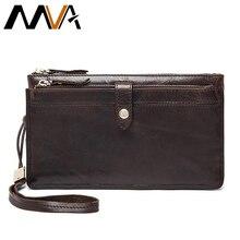 MVA Genuine Leather Wallets Clutch Leather Handbag Zipper Long Wallet Casual Men Clutch Bag Men Wallet Male Purse Card Holder