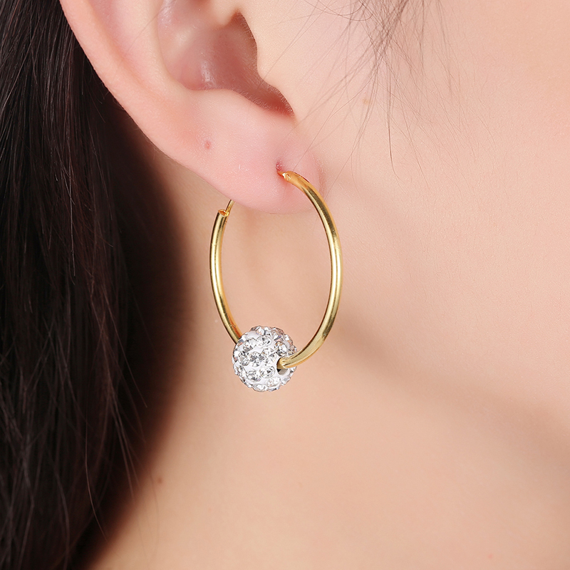 2017 New Fashion Gold Color Shamballa Hoop Earrings 10MM Micro