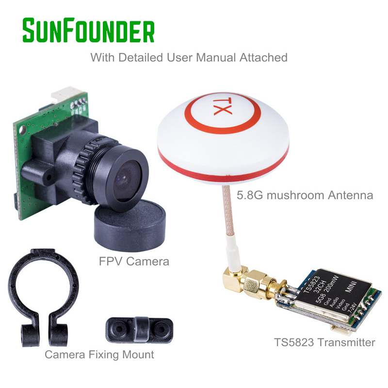 FPV Image Transceiver Kit for Dron Quadcopter with 700TVL HD Camera 200mW Mini TS5823 32 Channel AV Transmitter 5.8G Antenna fx797t 5 8g 25mw 40 channel av transmitter with 600 tvl camera soft antenna for indoor fpv racing drone
