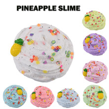 Squishy Scented Fluffy Slime Mud Floam Sludge Pineapple Charm Toys For Children Cloud Clay Playdough Stress Relief Toy W516 kocozo slime fluffy floam slime anti stress slime diy slime toys for children puzzle toy intelligent sludge mud toy light clay