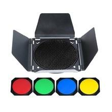 Studio Flash Accessories Godox BD04 BD-04 Universal Mount Barn Door+Honeycomb Grid+4 Color Filter For Standard Reflector