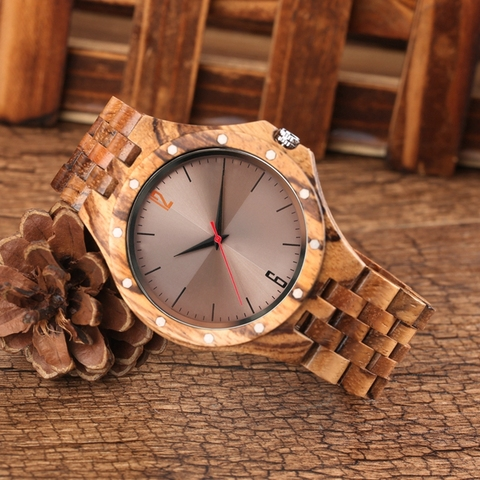 Retro Retro Wooden Watches Quartz Watches Men Unique Smooth Dial Silver Rivets Full Wood Wrist Watches Fashion Simple Man Clock Islamabad