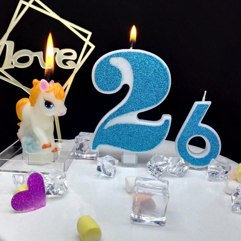 Очень большая синяя блестящая цифровая свеча, торт на день рождения, полнолуние, сто дней исповедь, мужской мальчик, ребенок 520 подарок