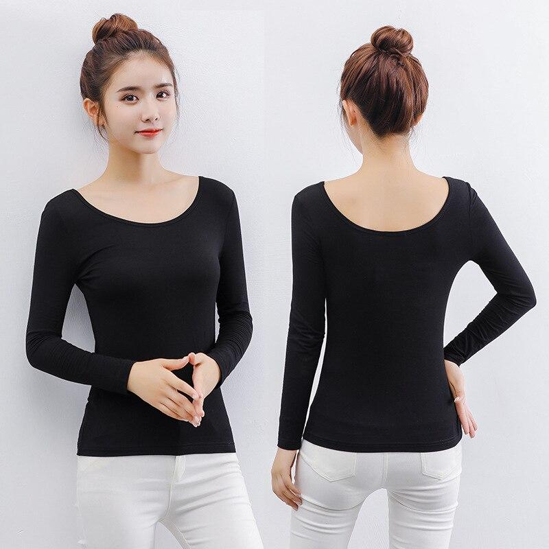 Women Open Back O Neck Long Sleeve T Shirt Modal Tops
