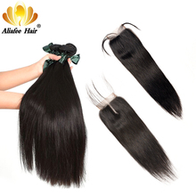 AliAfee Peruvian Hair Bundles With Closure Non Remy Hair Weave Straight Human Hair Bundles With Closure 3 Bundles Deal