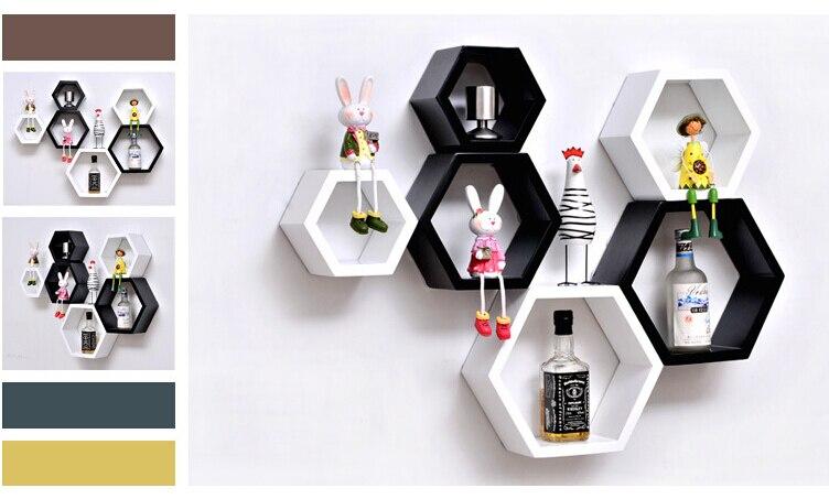 3pieces / lot Hexagon Shaped Decorative Wall Shelves Wood Wall ...