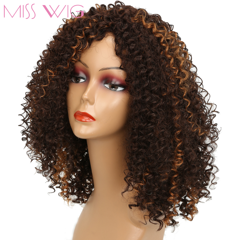 Miss Wig Long Dark Brown Mixed Blonde African Kinky Curly