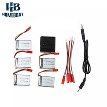 5PCS 3.7V 750mAh Battery 5 in1 Charger For RC Quadcopter Drone MJX X300C X400 Spare Parts Batteries Replacements Set