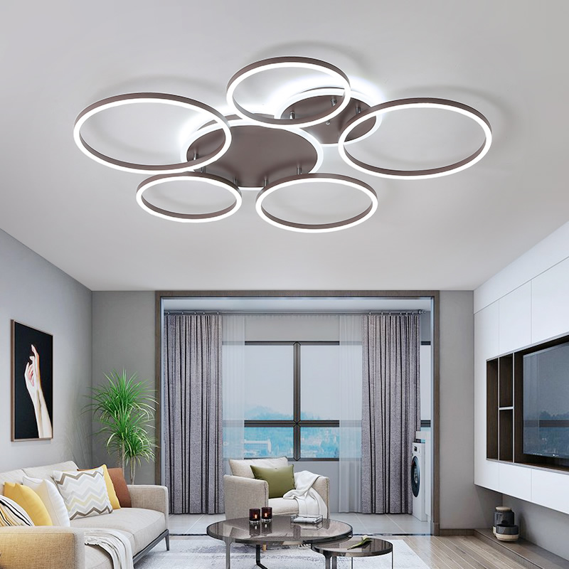Creative ring modern led chandelier living room bedroom study remote control dimming aluminum brown ceiling chandelier lampsCreative ring modern led chandelier living room bedroom study remote control dimming aluminum brown ceiling chandelier lamps