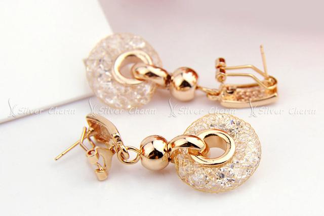 Luxury Rose Gold Drop Earrings Champagne Wire Zircon Crystal