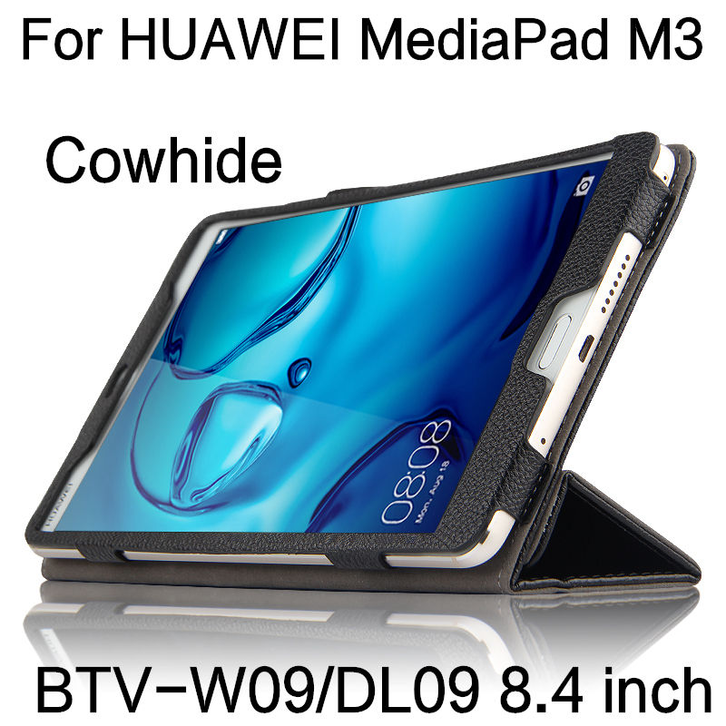 Case Cowhide For HUAWEI MediaPad M3 Protective Smart cover Genuine Leather Tablets 8.4 inch For Huawei M3 BTV-W09/DL09 Protector mediapad m3 lite 8 0 skin ultra slim cartoon stand pu leather case cover for huawei mediapad m3 lite 8 0 cpn w09 cpn al00 8