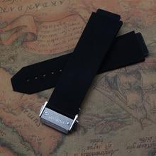 25 * 19 мм черный резиновые водонепроницаемые силиконовые дайвинг ремешок для часов раскладывающейся застежкой часы развертывания ремешок для бренда бесплатная доставка
