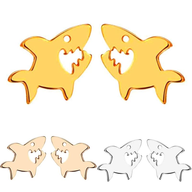 Cute Shark Animal Goldfish Ocean Piercing Stud Earring Christmas Party Gift Jewelry Girls Women Men Charm