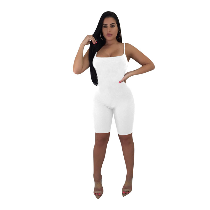 Skinny Women Playsuit Sexy Strap Night Club Female Bodysuit Multi-color Lady Jumpsuit Overall