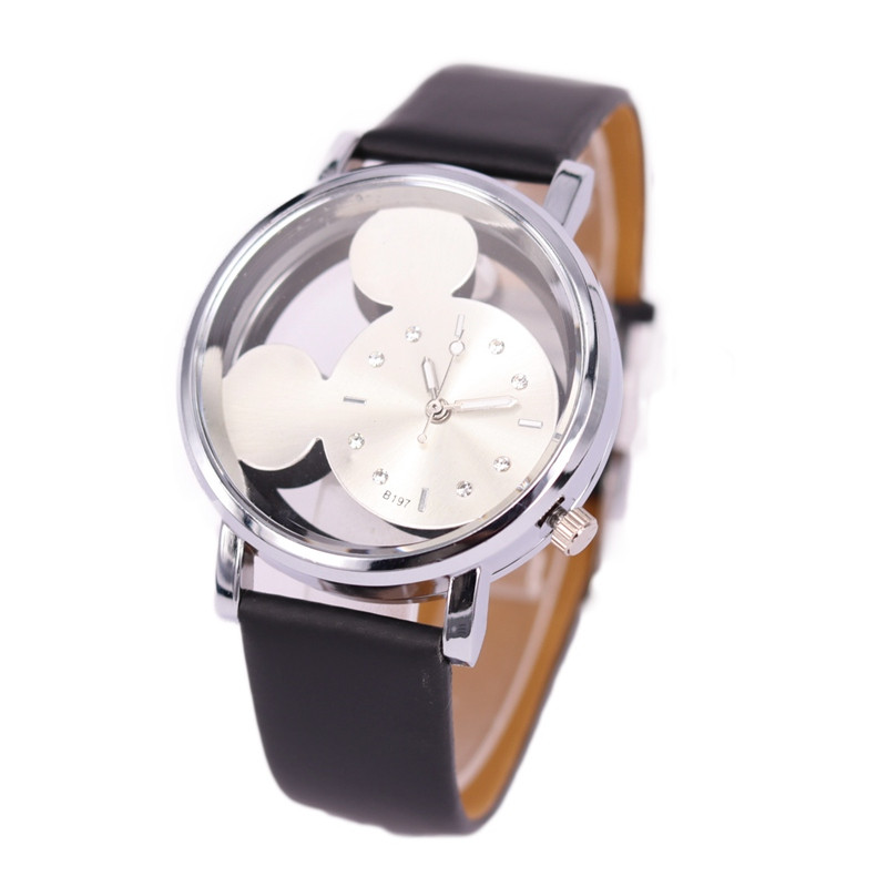 Relogio Feminino Luxo 2019 Ladies Watch With Crystals Clocks Women Luxury Quartz With Leather Mickey Mouse Kad N Saatleri New 3