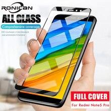 Para xiaomi Redmi Note 5 Pro protector de pantalla cubierta completa película protectora blanca y negra para xiaomi Redmi 5 Plus funda de vidrio templado