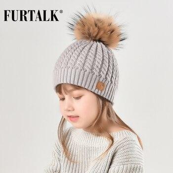 меховая шапка с помпоном из натурального меха зимняя вязаная шапка