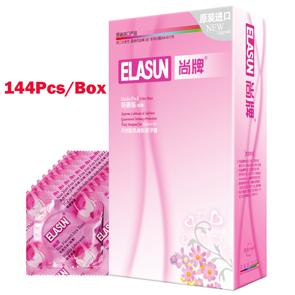 144 pcs Latex Ultra Thin 0.04mm Condoms Delay Penis Rings Contraception Tools Condom Sex Products W0121
