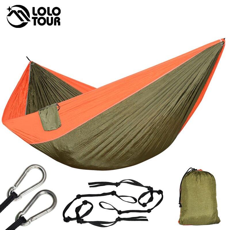 King Size Double Hamac 2 Personne Hamak Mobilier D'extérieur Voyage Camping Survie Arbre de Couchage Rede De Dormir