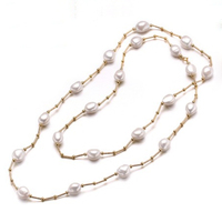 RUNZHUQIYUAN 2017 100% natural freshwater pearl long necklace 10 11 mm Pearl silver Jewelry 90 cm length Best Gifts for women