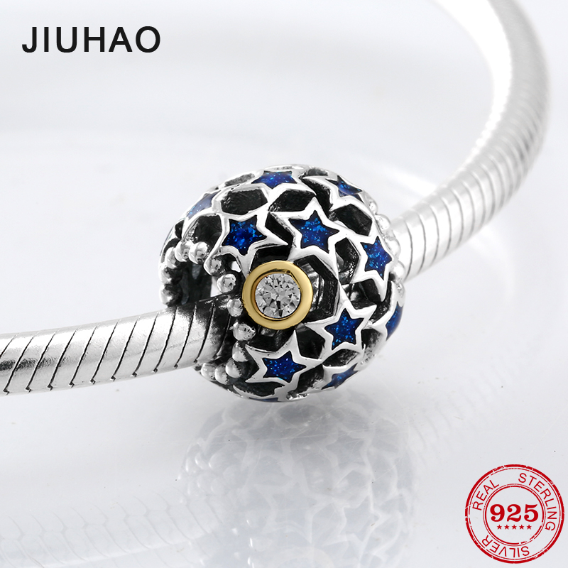 New 925 Sterling Silver Hollow blue Five-pointed star CZ beads Fit Original Pandora Charm Bracelet Jewelry making