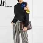 Новинка весны 18 Нерегулярные полые стерео вышивка бисером без бретелек свободный свитер с капюшоном на цветы
