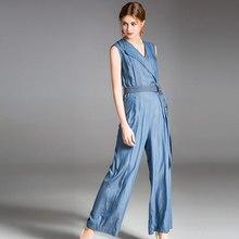 2019 Fashion brand spring summer and autumn womens jumpsuit Europe America lapel Slim temperament denim women