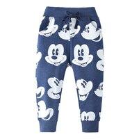 Autumn Child Boy Pants Cotton Drawstring Pants Elastic Knit Boy Clothes Animal Print Pattern Kids Sweatpants