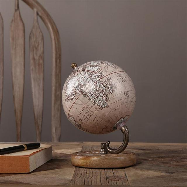 Wooden Handicrafts Vintage Globe Retro Home Decor Studing Room