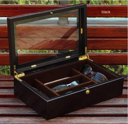 0bb5aaca80c46 luxury Wooden 5-grid sunglasses case with a glass window for the storage  cap consumer organization Home YJ010