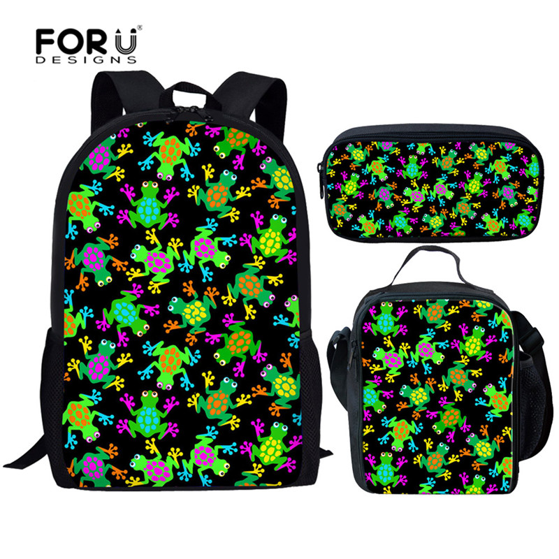 FORUDESIGNS Green Frog Backpack For Boy Girl Children School Bags Set Teenager Schoolbags Kids Student Backpacks Mochila Escolar