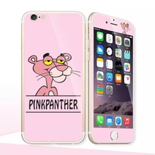 Glow in the dark luminous raised pinkpanther Tempered Glass film Screen Protector back cover for iPhone