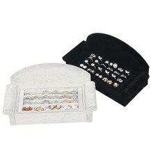 Sofa Shape Velvet Jewelry Display Holder Earring Ring Tray Racks Rack Shelf Organizer