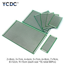 8 Sizes Mix PCB Prototype Circuit Board Double-sided Strip Breadboard 80Pcs(China)