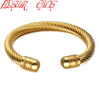BLEUM CADE Men S High Quality Gold Colour Stainless Steel Wire Armoured Cuff Bracelets For Women
