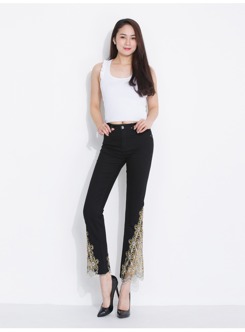 KSTUN Women Jeans Embroidered Flare Pants Sequined Summer Thin Stretch Bell Bottoms Black Blue Lace Designer Female Fashion 2018 26
