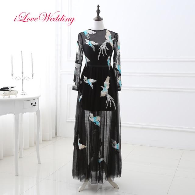 iLoveWedding 2017 New Black Prom Dresses Tulle Phoenix Embroidery O ...