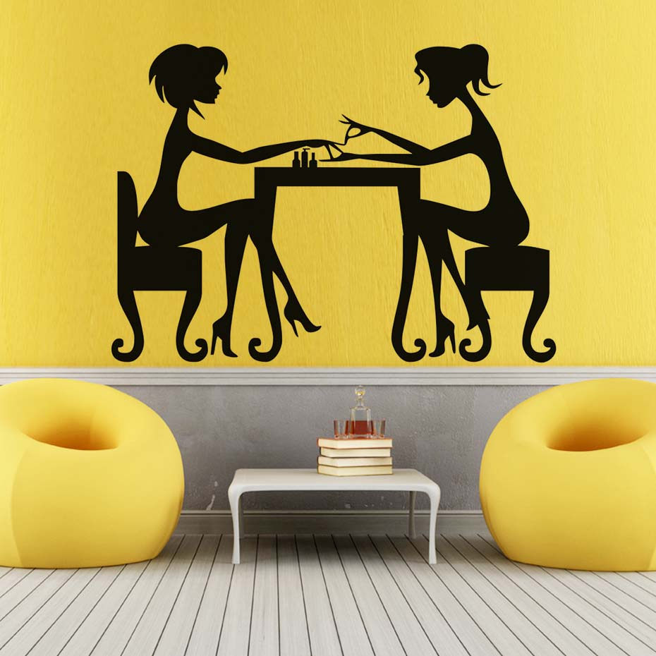 Trend Nail Salon Wall Stickers For Living Room Artist Manicure Lady Waterproof Vinyl Removable Wallpaper Art Decals Home Decor ...