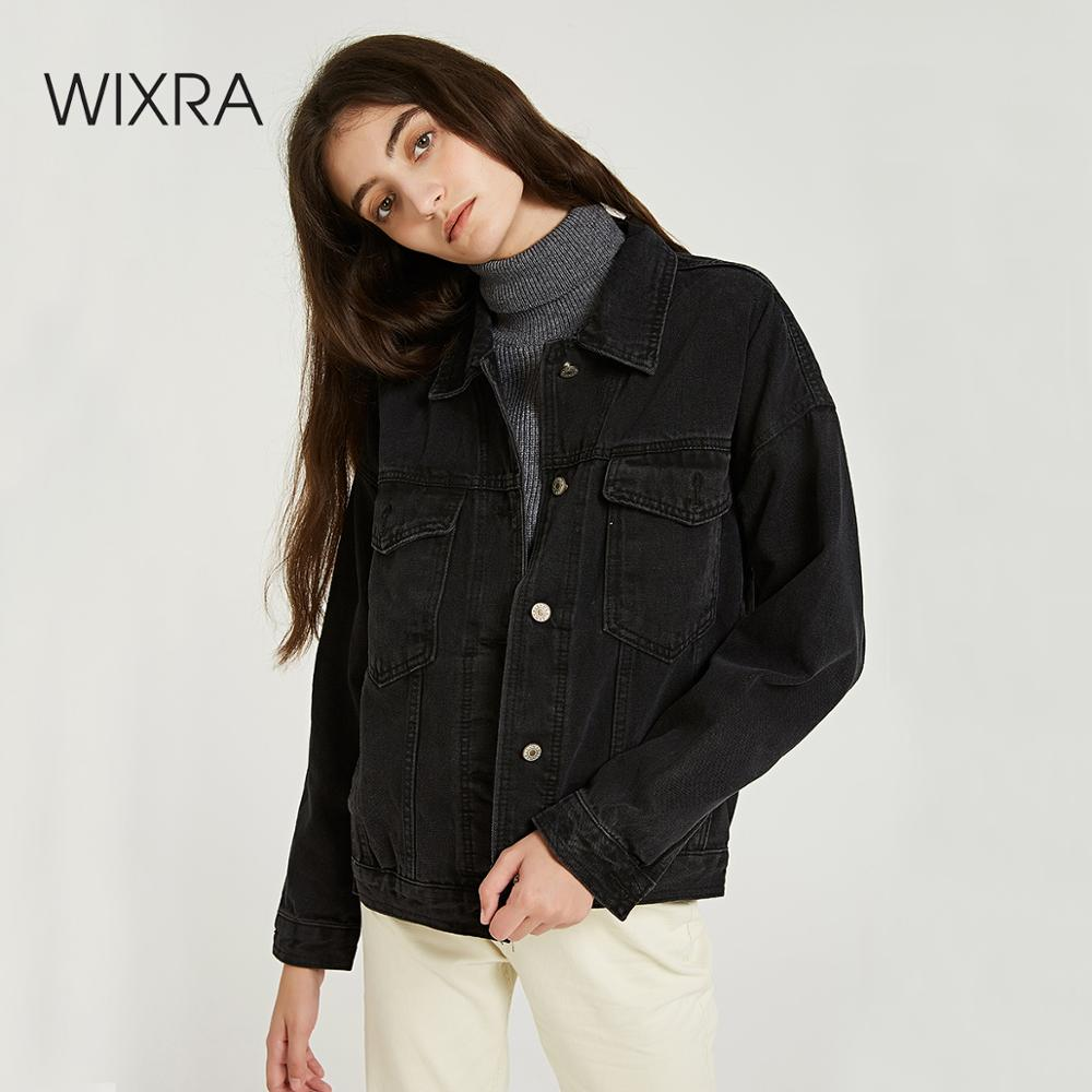 Wixra Women Casual Black Solid Denim Jackets Women 2019 Spring Autumn Loose All Base Match Pockets Jacket